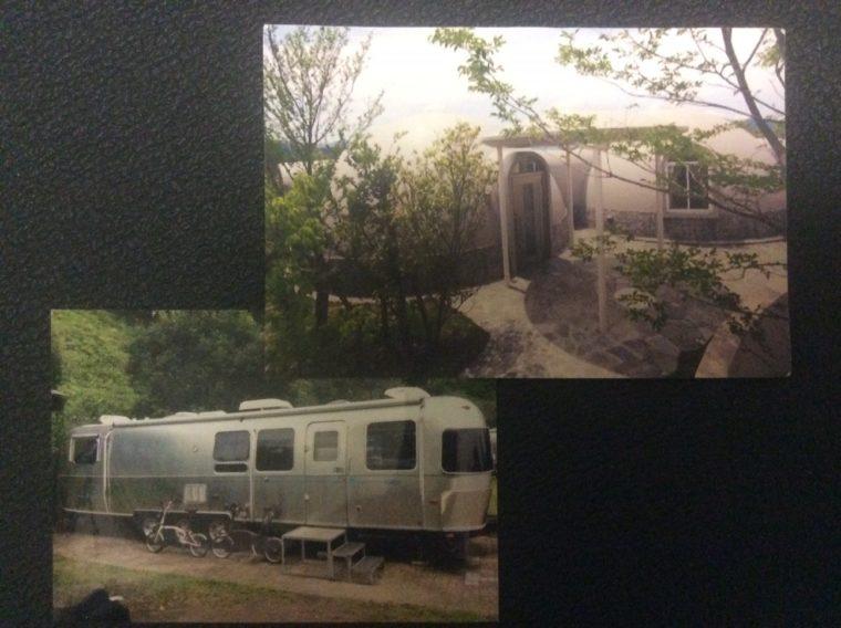 泊まったことのあるエアストリームとドームハウスの写真を、さらに並べて撮った写真