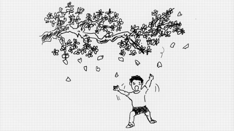 桜吹雪の下で特訓するイラスト