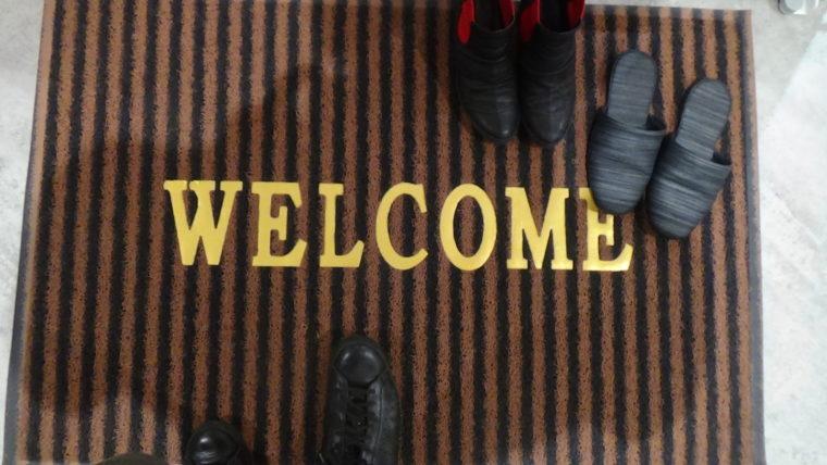 ハートブリッヂガーデンの入口マット「ウェルカム」
